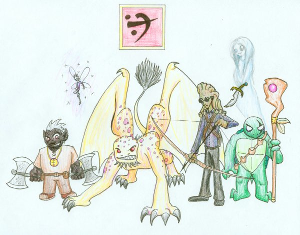 Team Arach: Orr the Drow, Ixa the Pixie, Jherra the Manticore, Macarr the Medusa, Tria the Ghost, and T'luin the Tortugan