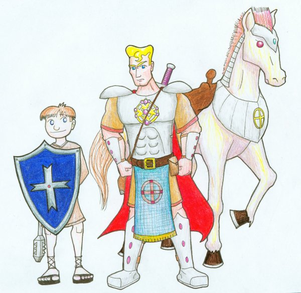Sir Valance the Paladin of St. Cuthbert, with Tommy, his squire, and Starburst, his Astral Mount