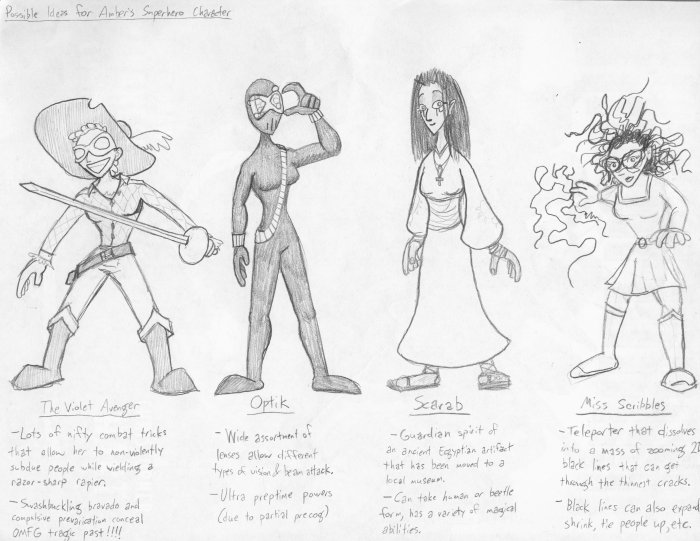 Ideas for Amber's Superhero Character